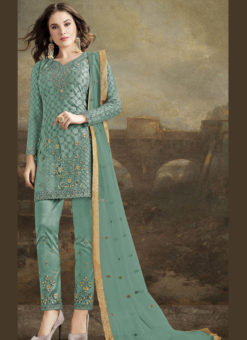 Elegant Sea Green Net Embroidered Work Designer Pakistani Suit