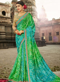 Lovely Green Designer Party Wear Georgette Bandhani Saree