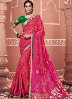 Alluring Pink Designer Party Wear Georgette Bandhani Saree