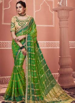 Amazing Green Designer Party Wear Georgette Bandhani Saree