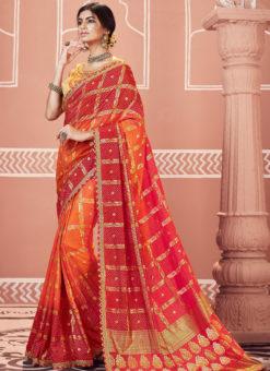 Multicolor Designer Party Wear Georgette Bandhani Saree
