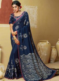 Wonderful Navy Blue Designer Party Wear Georgette Bandhani Saree