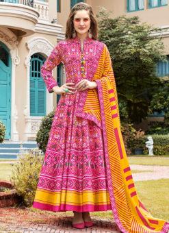 Elegant Pink Silk Patola Printed Work Gown Suit