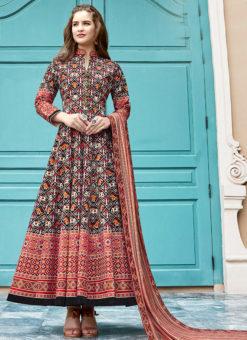 Jazzy Black Silk Patola Printed Work Gown Suit