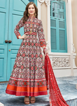 Lovely Multicolor Silk Patola Printed Work Gown Suit