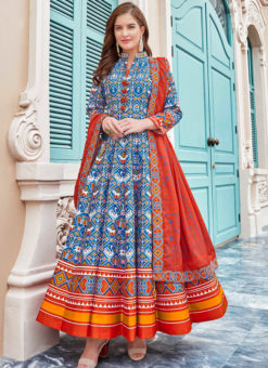 Glorious Blue Silk Patola Printed Work Gown Suit