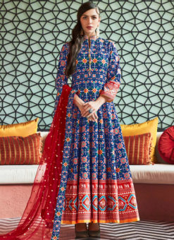 Lovely Blue Silk Patola Printed Work Gown Suit