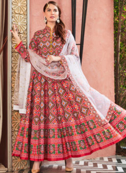 Attractive Multi Silk Patola Printed Work Gown Suit