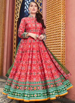 Glorious Red Multicolor Silk Patola Printed Work Gown Suit