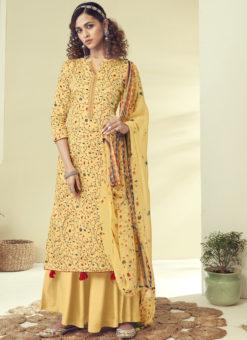 Latest Designer Yellow Pure Zam Cotton Salwar Suit