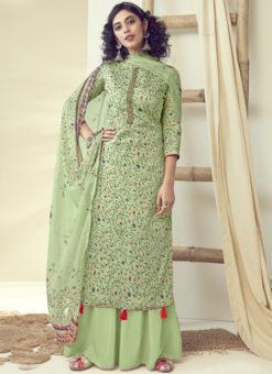 Latest Designer Green Pure Zam Cotton Salwar Suit