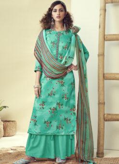 Latest Designer Aqua Green Pure Zam Cotton Salwar Suit