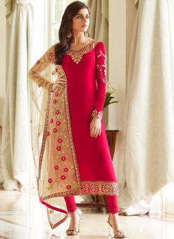 Elegance Red Georgette Party Wear Churidar Salwar Suit