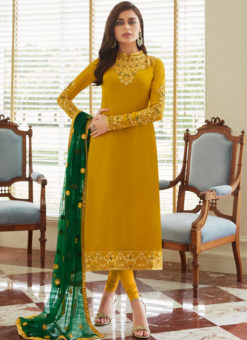 Snazzy Yellow Georgette Party Wear Churidar Salwar Suit