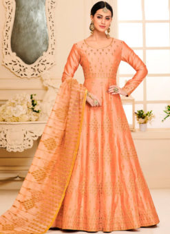 Fabulous Orange Silk Designer Party Wear Anarkali Suit