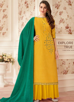 Yellow Designer Party Wear Pure Jam Cotton Palazzo Suit