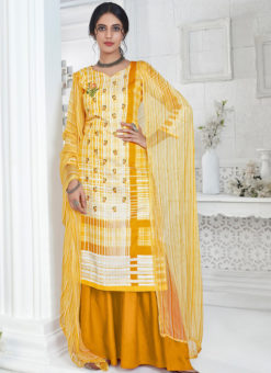 Yellow Party Wear Pure Zam Cotton Plazzo Suit