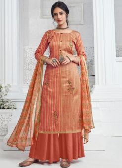 Orange Party Wear Pure Zam Cotton Plazzo Suit