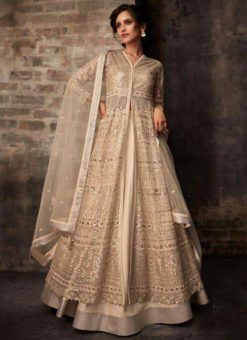 Heavy Designer Beige Bridal Wear Butterfly Net Suit