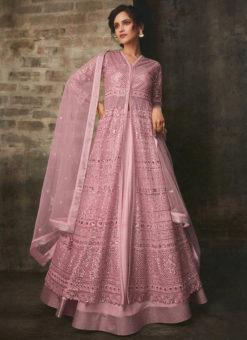 Heavy Designer Pink Bridal Wear Butterfly Net Suit