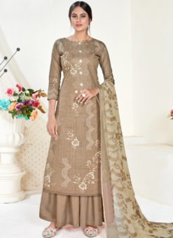 Beige Cotton Printed Party Wear Plazzo Suit