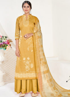 Yellow Cotton Printed Party Wear Plazzo Suit