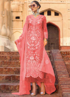 Gajri Partywear Designer  Embroidered Work Soft Net  Pakistani Suit