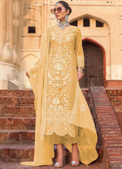 Yellow Partywear Designer Embroidered Work Soft Net  Pakistani Suit