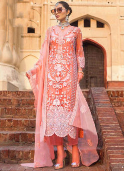 Orange Partywear Designer  Embroidered Work Soft Net  Pakistani Suit