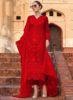 Red Partywear Designer  Embroidered Work Soft Net  Pakistani Suit