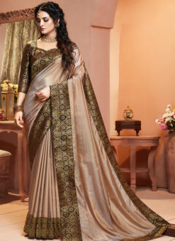 Lovely Beige Silk Zari Weaving Party Wear Saree