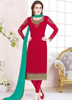 Divine Red Georgette Embroidered Work Designer Salwar Suit