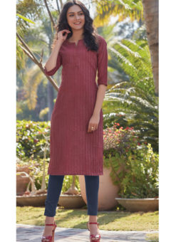 Lovely Maroon South Cotton Casual Wear Kurti