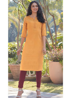 Alluring Yellow South Cotton Casual Wear Kurti