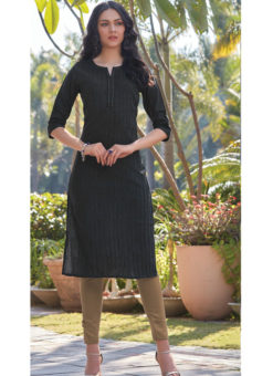 Elegant Black South Cotton Casual Wear Kurti