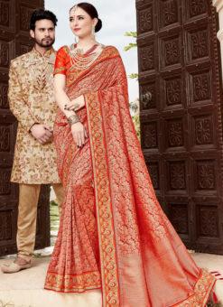 Elegant Red Silk Designer Wedding Wear Saree