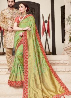 Amazing Green Silk Designer Wedding Wear Saree