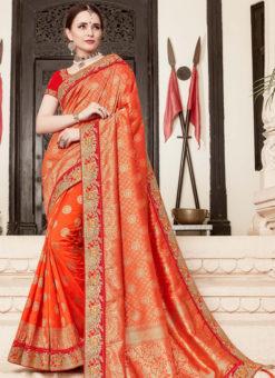 Lovely Orange Silk Designer Wedding Wear Saree