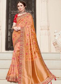 Jazzy Peach Silk Designer Wedding Wear Saree