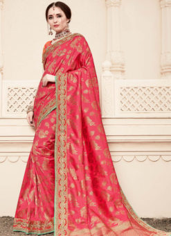 Alluring Pink Silk Designer Wedding Wear Saree