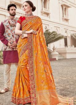 Wonderful Yellow Silk Designer Wedding Wear Saree