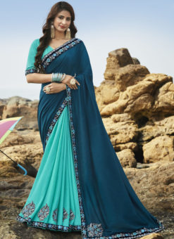 Lovely Turquoise Blue Art Silk Party Wear Saree