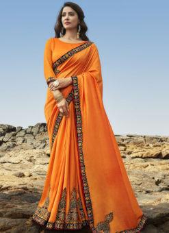 Jazzy Orange Art Silk Party Wear Saree