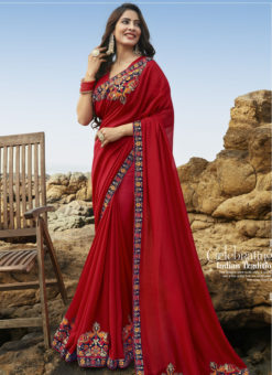 Beautiful Red Art Silk Party Wear Saree