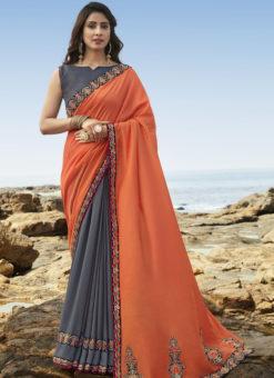 Alluring Orange And Grey Art Silk Party Wear Saree