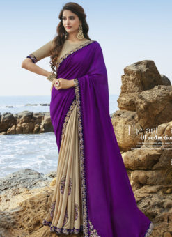 Lovely Purple And Blue Art Silk Party Wear Saree