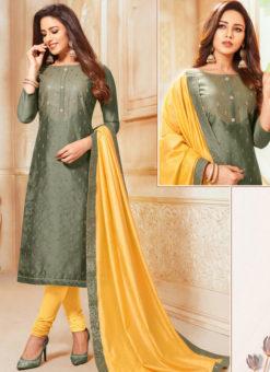 Olive Green Silk Party Wear Churidar Salwar Suit