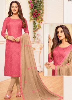 Pink Silk Party Wear Churidar Salwar Suit