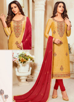 Yellow Silk Party Wear Churidar Salwar Suit