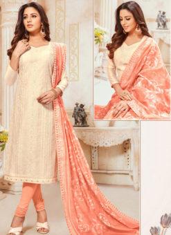 Off White Silk Party Wear Churidar Salwar Suit